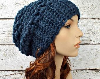 Crochet Hat Womens Hat Slouchy Beanie Slouchy Hat - Souffle Beret in Denim Blue Crochet Hat - Blue Hat Blue Beanie Womens Accessories