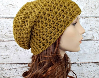 Crochet Hat Green Hat Green Womens Hat Green Mens Hat - Slouchy Beanie Hat in Moss Green Beanie Womens Accessories