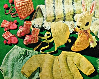 Baby Knitting Patterns Crochet Patterns Knit and Crochet for Babies Coats & Clark 146 Vintage Paper Original NOT a PDF