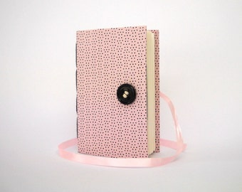 Pink dotted journal notebook Handmade journals, Lined journal for writing Girls journal Pink with tiny Black dots, Journal diary for girls