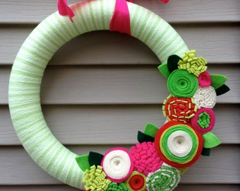 Spring Wreath wrapped in Yarn and Decorated w/ felt flowers. Holiday Wreath - Christmas Wreath - Yarn Wreath - Fall Wreath -Yarn Felt Wreath
