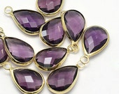 2 Amethyst Faceted Glass Pendants, Tear Drop with a Smooth Gold Plated Bezel