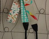 Camera Strap- Special Edition Modern Patchwork Cotton and Steel -one of a kind