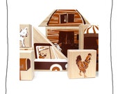 country wood blocks and puzzle- stackable toy -art