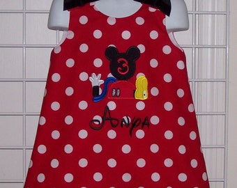 Red Minnie Polka Dot Mickey Mouse Clubhouse Applique Monogram A-line Dress - Age Number - Birthday Party