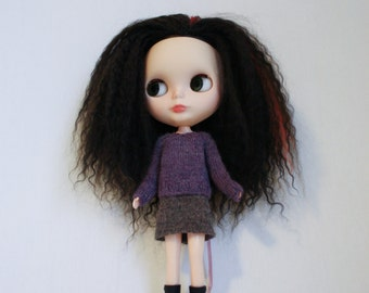 Blythe doll Edna Sweater knitting PATTERN - short or long sleeve pull over for Neo - instant download - permission to sell finished items