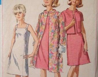 1960's Sundress Coat and Jacket with mandarin collar Vintage Simplicity 7081 Pattern