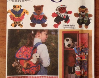 Beanie Babies Accessories Simplicity 7929 Pattern to sew Beanie Baby Clothes, Back Pack, Storage Bin, Bed Ruffle