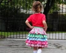 Ruffled Skirt Pattern for girls - Sewing Pattern toddler to teen