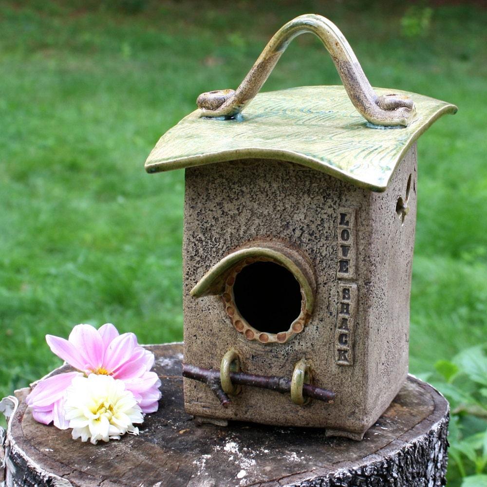 Birdhouse Garden: Love Shack Ceramic Birdhouse Garden Art Cheery Indoor Home