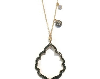 Black spinel chandelier pendant with cubic zirconia necklace, Perfect gift for her!