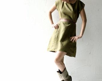 Linen dress, Tunic dress, Linen tunic, Summer dress, green dress, Womens dress, Boho dress, Brown dress, Womens clothing, day dress, petite