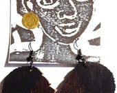 Wooden Afro Silhouette Earrings