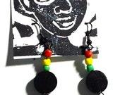 Afro Silhouette Wooden Earrings