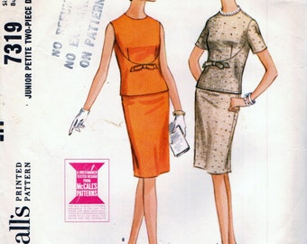 McCall's 7319 Two Piece Dress Junior Size 11 - 13 VINTAGE 1960s ©1964