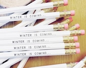 ON SALE Winter is Coming Pencil 6 Pack / Game of Thrones gift, winter gifts, stocking stuffers, affordable gifts