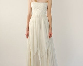 Sample Sale -Lace and chiffon strapless gown - Vaughn