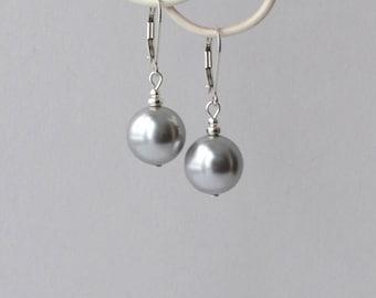 Gray Pearl Drop Earrings, Large Pearl Earrings, Sterling and Pearl Earrings, Grey Earrings, Modern Jewelry, Bridesmaid Jewelry, Swarovski