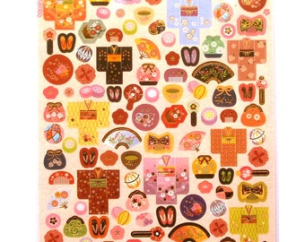 Japanese Kimono Stickers - Japanese Stickers - Traditional Japanese - Chiyogami Paper Stickers - Washi Stickers (S213)