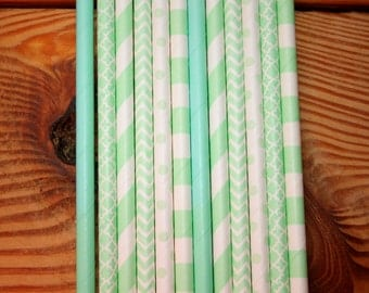 30 Mint Party Straws, Drinking Straws, Assorted Patterns
