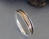 Anticlastic Ring, Black and Gold Band, Silver and Gold Ring