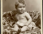 vintage photo Roseburg Oregon Cherub Pretty Baby in Diaper on Rug cabinet HD Graves studio
