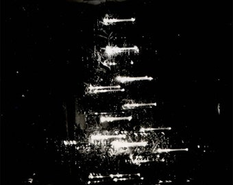 vintage photo 1939 Christmas Tree at Night Abstract Lights unusual Holiday