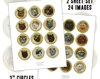 """Antique Purebred Cat digital collage sheet set two inch 2"""" circle 50 mm 50.8 mm"""