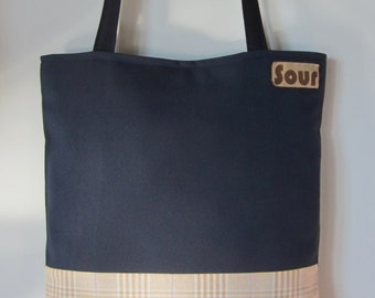ON SALE Away We Go Dark Blue and Peach Plaid Tote Bag