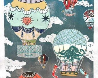 Hot Air Balloons IX - Multimedia - Lino Block Print Historic Hot Air Balloons in Cloudy Sky with Collaged Japanese Papers & Ephemera