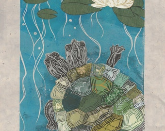 Two-Headed Turtle VII - Block Print with Mixed Papers - Lino Block Print Turtle with Two Heads & Lilypad with Collaged Japanese Papers
