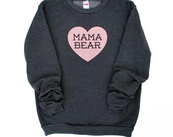 Mama Bear with Heart Dark Heather Grey Sweatshirt with Pink print