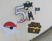 Pirate Birthday Party Centerpiece Set of 3 Personalized Age and Name - Pirate Birthday Party Table Decorations - Pirate Boy or Girl