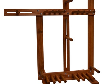 Floor Standing Inkle Loom, Tablet Weaving, Card Weaving Loom With Double Tension System - Handcrafted From Solid Red Oak