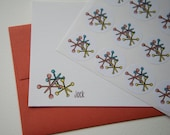 Vintage Jacks Personalized Stationery or Thank You Notes and Sticker Set