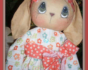 Primitive Easter Bunny PATTERN #166 Blossom ePATTERN instant download Hafair Faap