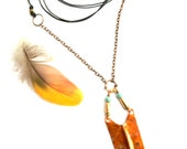 Fold Formed Copper Pendant on Chain and Leather Cord Necklace (P1499)