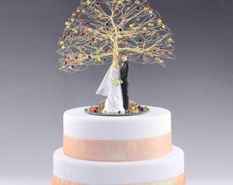 CUSTOM - Tree Wedding Cake Topper in Swarovski Crystal Elements You Choose Bride Groom Figurine and Colors