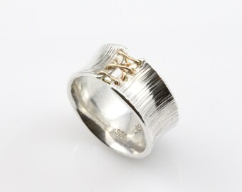 Corset Ring, Sterling Silver Laced Corset Ring, Laced Up Ring