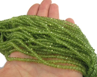 Peridot Rondelle Beads, 6.5 Inch Strand, 3.5mm Natural Gemstones, August Birthstone, Rondelle Necklace, Jewelry Supplies (R-Pe2)