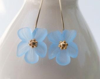 Lucite Flower Earrings - Light Blue Flowers Gold Filled