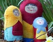 PDF SEWING PATTERN - Stuffed Matryoshka Hand-Sewing Pattern - multiple sizes - babushka, nesting doll, russian doll, plush, micasita house