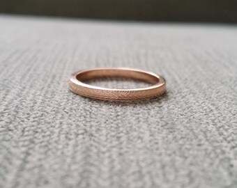 "Victorian Wedding Band Etched Ring Vintage Antique Art Nouveau Art Deco Blush 14K Rose Gold match ""The Fountainhead"" and ""The Love Birds"""