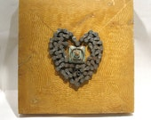 Ring Holder - Love Art - Heart Art - Your Heart is Safe with Me - Original Assemblage - Wedding Art  - Wood Collage - Wall Decor - OOAK