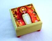 Mummy Jewelry Box, Egyptian Middle East Art Mediterranean Sarcophagus, Wooden Wood Box, Girl Art, Earrings Ring Box, Orange Green