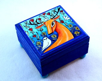 Deer Jewelry Box, Stag Small Wood Box, Whimsical Storybook Art Ring Box, Friendship Gift, Blue Orange, Deer and Bird Art