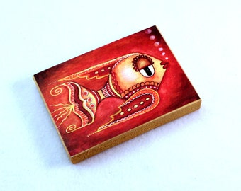 Art Wood Block, Whimsical Fish, Drilled Hole or Magnet, Nautical Art, Friendship Art, Fish Art, ACEO ATC, Wooden, Red Orange Yellow