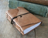 """Leather Journal - Helen Keller: """"One can never consent to creep when one feels an impulse to soar."""" distressed honey brown / tan (320pgs)"""
