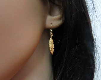Gold feather earrings long dangle earrings, Gold dainty earrings, Gold feather jewelry