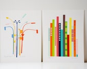 Set of 2 City Set Art Prints. Lamp posts and cityscapes